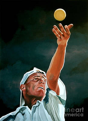 Action Portrait Painting - Lleyton Hewitt by Paul Meijering