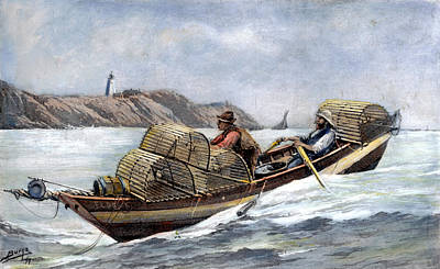 Nova Scotia Drawing - Lobster Fishing, 1894 by Granger