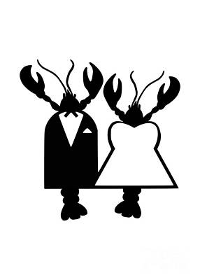 Abstract Animalia - Lobster Wedding Couple Bride and Groom Original by Julie Knapp
