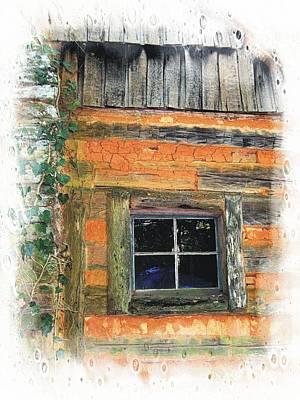 Photograph - Log Cabin Window by Joe Duket