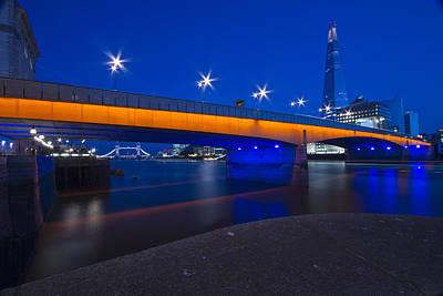London Bridge Shard Night  Art Print by David French