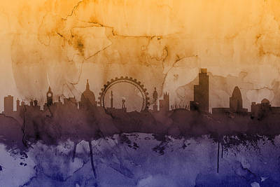 London England Skyline Art Print by Michael Tompsett