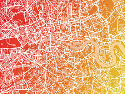 London England Street Map Art Print