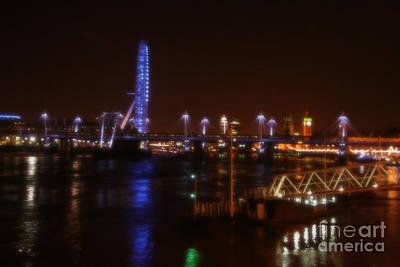 London Eye Mixed Media - London Eye At Night by Doc Braham