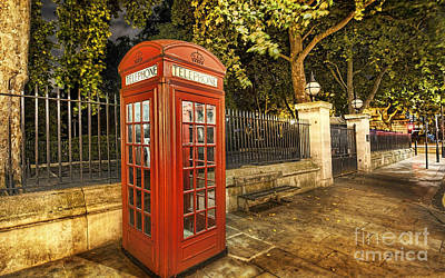 London Mixed Media - London Telephone Booth by Marvin Blaine