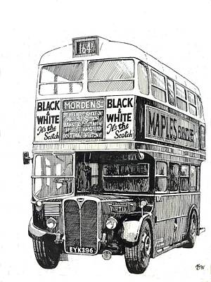 Pen And Ink Drawing Painting - London Transport Rt1. by Mike  Jeffries