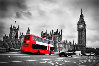 Icon Photograph - London Uk Red Bus In Motion And Big Ben by Michal Bednarek