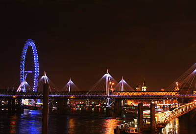 London Eye Mixed Media - Londons River Thames Showing The Eye by Doc Braham
