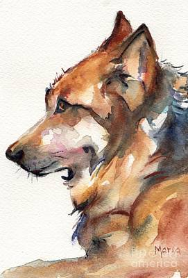 Wolf Watercolor Painting - Lone Star Wolf by Maria's Watercolor