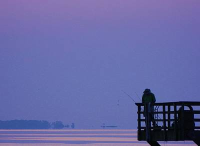 Landscapes Photograph - Lonely Fisherman by Heather White