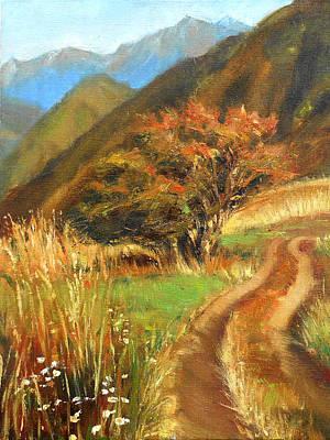 Mountainous Mixed Media - Lonely Tree by Tatyana Myasnikova