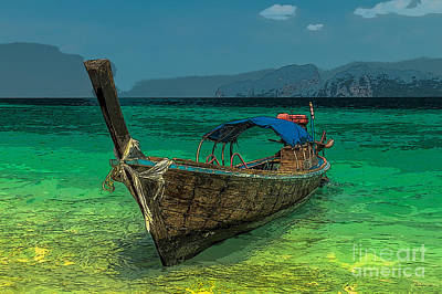 Coastline Digital Art - Longboat by Adrian Evans