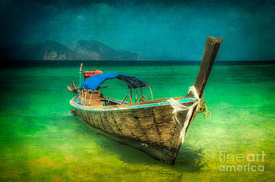 Coastline Digital Art - Longboat Thailand by Adrian Evans