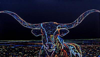 Bright Colored Longhorn Painting - Longhorn by Bryan Dubreuiel