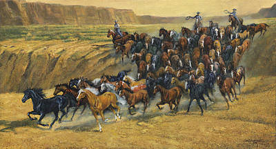 Roundup Painting - Wild Horse Round Up by Don  Langeneckert