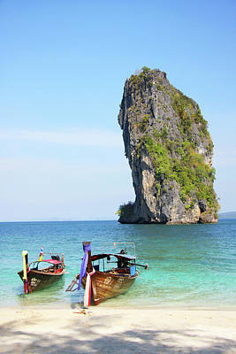 Longtail Wall Art - Photograph - Longtail Boats And Limestone Outcrop At by Peter Unger