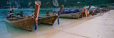 Longtail Boats Moored On The Beach Art Print by Panoramic Images