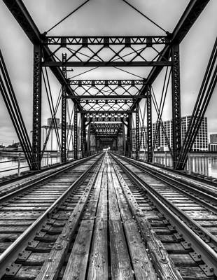 Photograph - Looking Down The Tracks In Black And White by Anthony Doudt