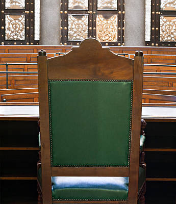 Looking Into Courtroom From Behind Judges Chair Art Print by Ken Biggs