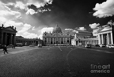 Pio Photograph - Looking Towards St Peters Basilica And The Vatican City From Piazza Pio Xii Rome Lazio Italy by Joe Fox
