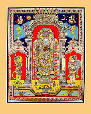 Ancient Indian Art Painting - Lord Venkateswara by Santi Arts