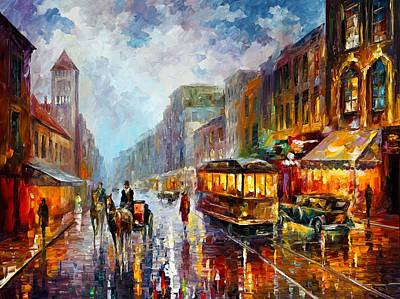 Abstract Realism Painting - Los Angeles 1925 by Leonid Afremov