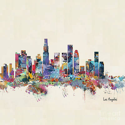Painting - Los Angeles California Skyline  by Bri B