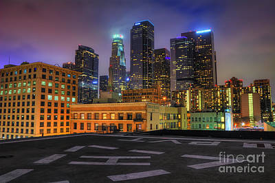 Los Angeles Skyline Photograph - Los Angeles Skyline At Night by Eddie Yerkish