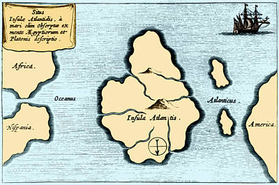 Lost Continent Of Atlantis, 1665 Art Print by Science Source