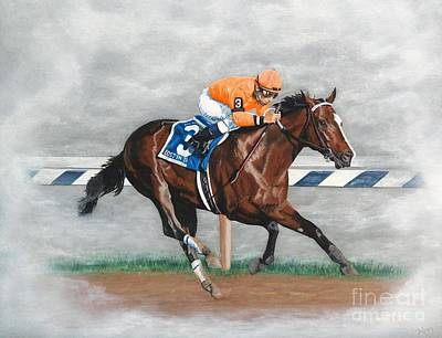 Horse Racing Painting - Lost In The Fog by Pat DeLong