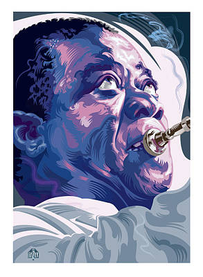 Jazz Royalty-Free and Rights-Managed Images - Louis Armstrong Portrait 2 by Garth Glazier