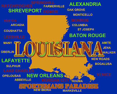 Louisiana State Pride Map Silhouette  Art Print