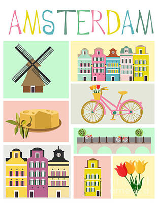 Colorful Boats Wall Art - Digital Art - Love Amsterdam by Mio Buono