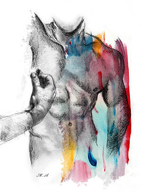 Nude Drawing - Love Colors 5 by Mark Ashkenazi