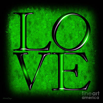 Digital Art - Love In Green by Andee Design