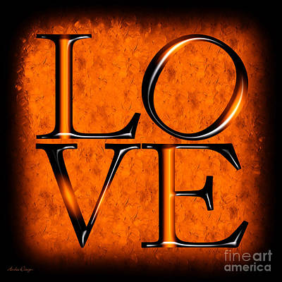 Digital Art - Love In Orange by Andee Design