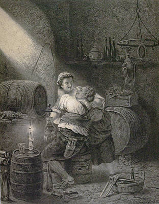 Wine Cellar Drawing - Love In The Winecellar, Barrel, Wine, Man, Woman, Male by English School