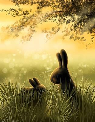 Rabbit Painting - Love by Veronica Minozzi