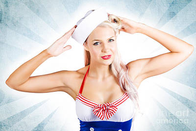 Lovely American Pinup Woman In Military Fashion Art Print by Jorgo Photography - Wall Art Gallery
