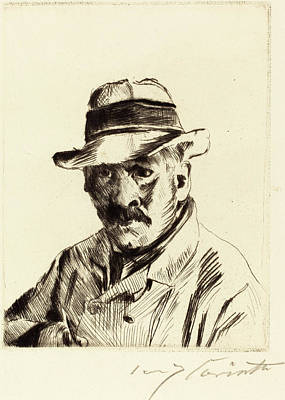 Straw Hat Drawing - Lovis Corinth, Self-portrait In A Straw Hat Selbstbildnis by Quint Lox