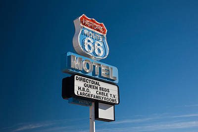 Low Angle View Of A Motel Sign, Route Art Print
