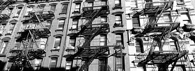 Low Angle View Of Fire Escapes Art Print