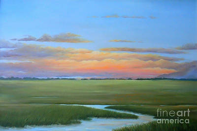 Marsh Scene Painting - Lowcountry Sunset by Audrey McLeod