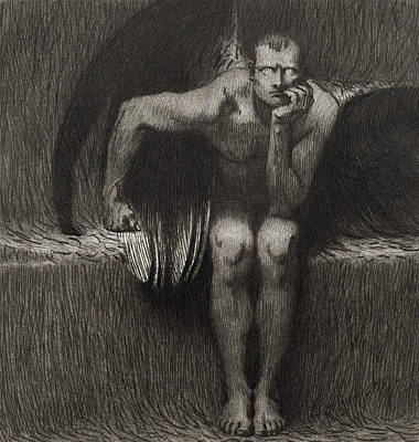 Bat Drawing - Lucifer by Franz von Stuck