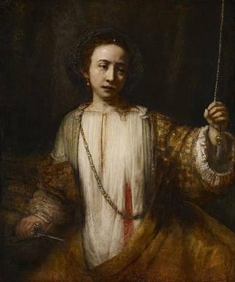 Netherlands Painting - Lucretia by Rembrandt van Rijn