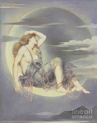 Tied-up Painting - Luna by Evelyn De Morgan