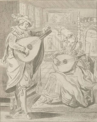 Lute Drawing - Lute Playing Lord And Lady, Cornelis Ploos Van Amstel by Quint Lox