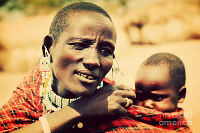 Baby Photograph - Maasai Baby Carried By His Mother In Tanzania by Michal Bednarek