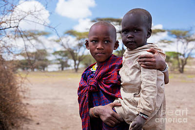 Maasai Children Portrait In Tanzania Art Print by Michal Bednarek