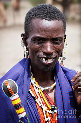 Maasai Man Portrait In Tanzania Art Print by Michal Bednarek